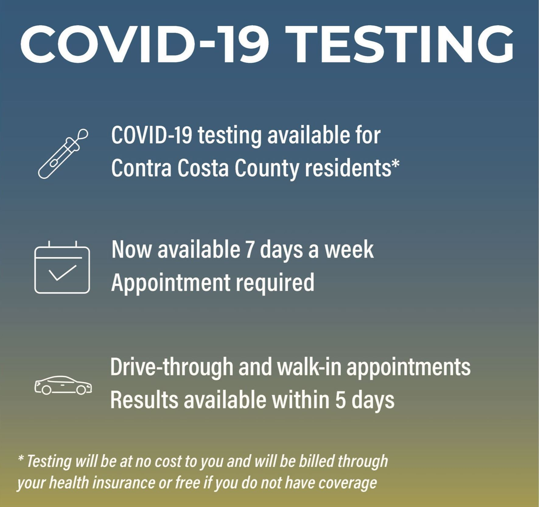 Contra Costa County COVID-19 Testing Informational Image