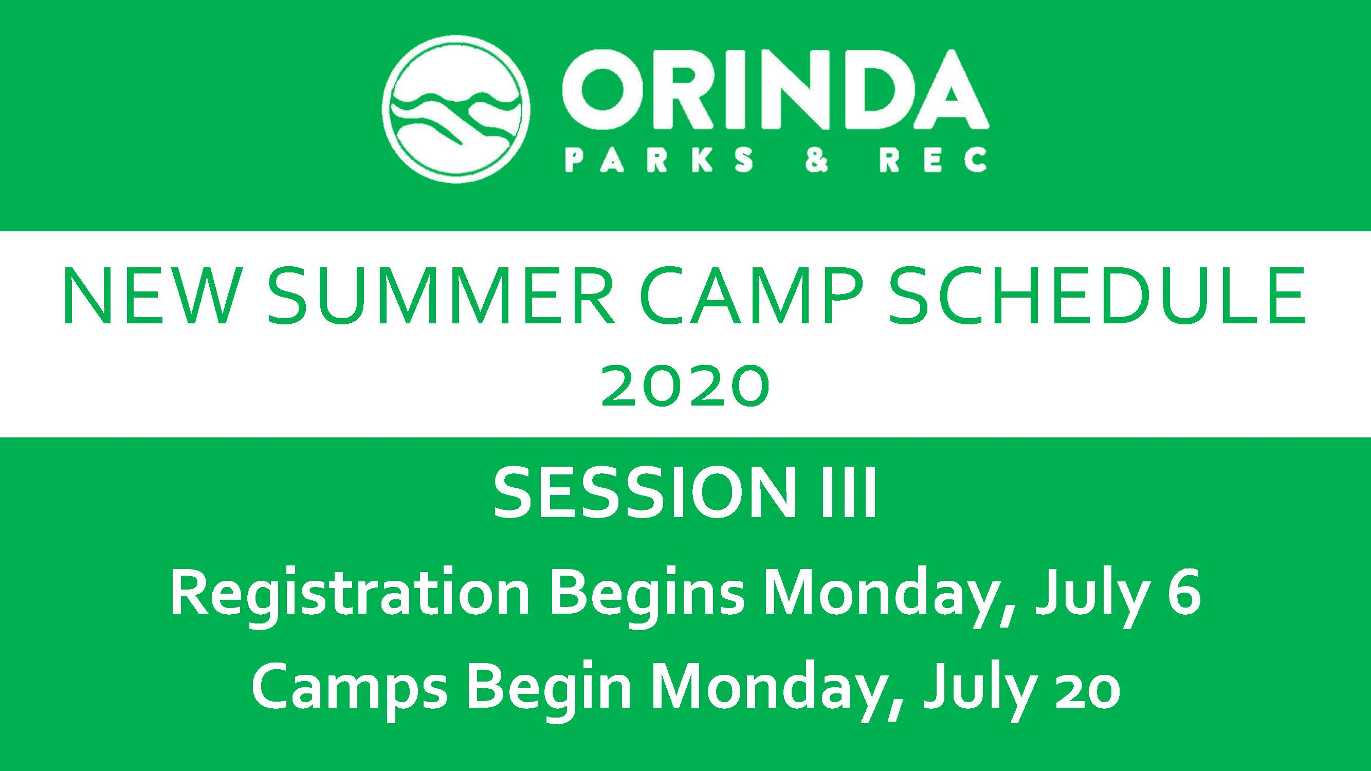 Summer Camp Schedule Session III Image