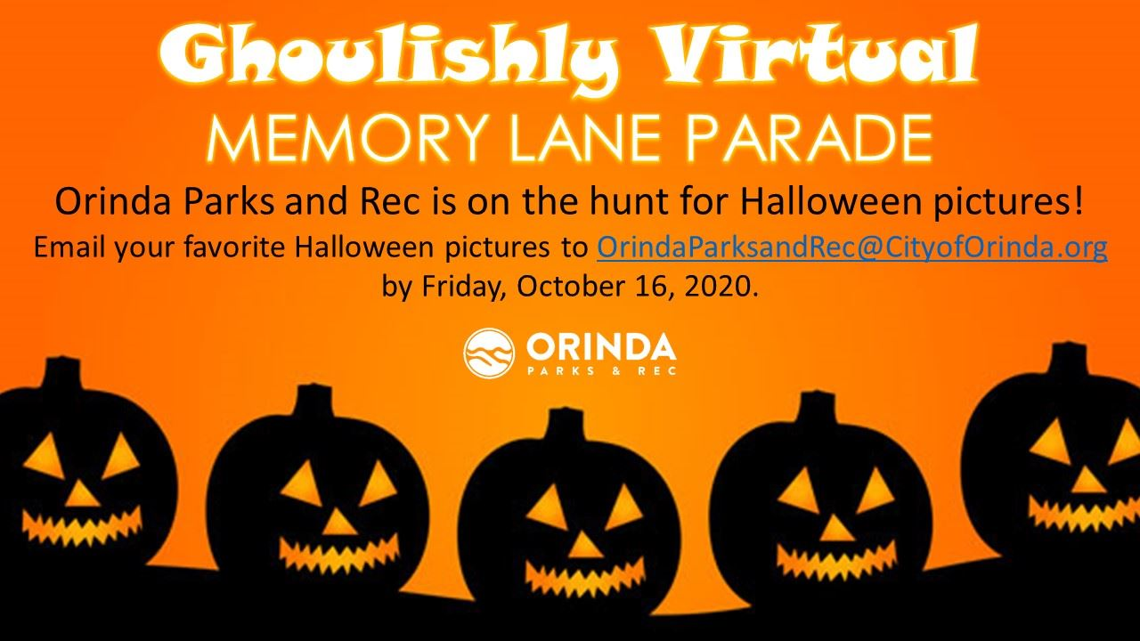Flyer for Orinda Parks and Rec Halloween Photo Search